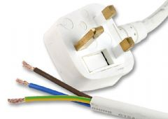 PRO ELEC PE01019  Lead Uk Plug-Bare End 5A 2M Wht